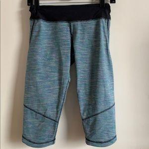 Lululemon cropped leggings teal/striped US10